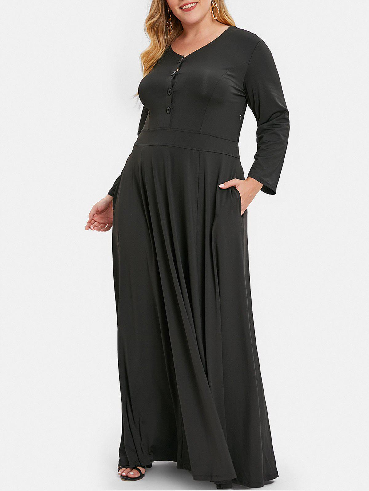 Plus Size Button Embellished V Neck Maxi Dress, Black