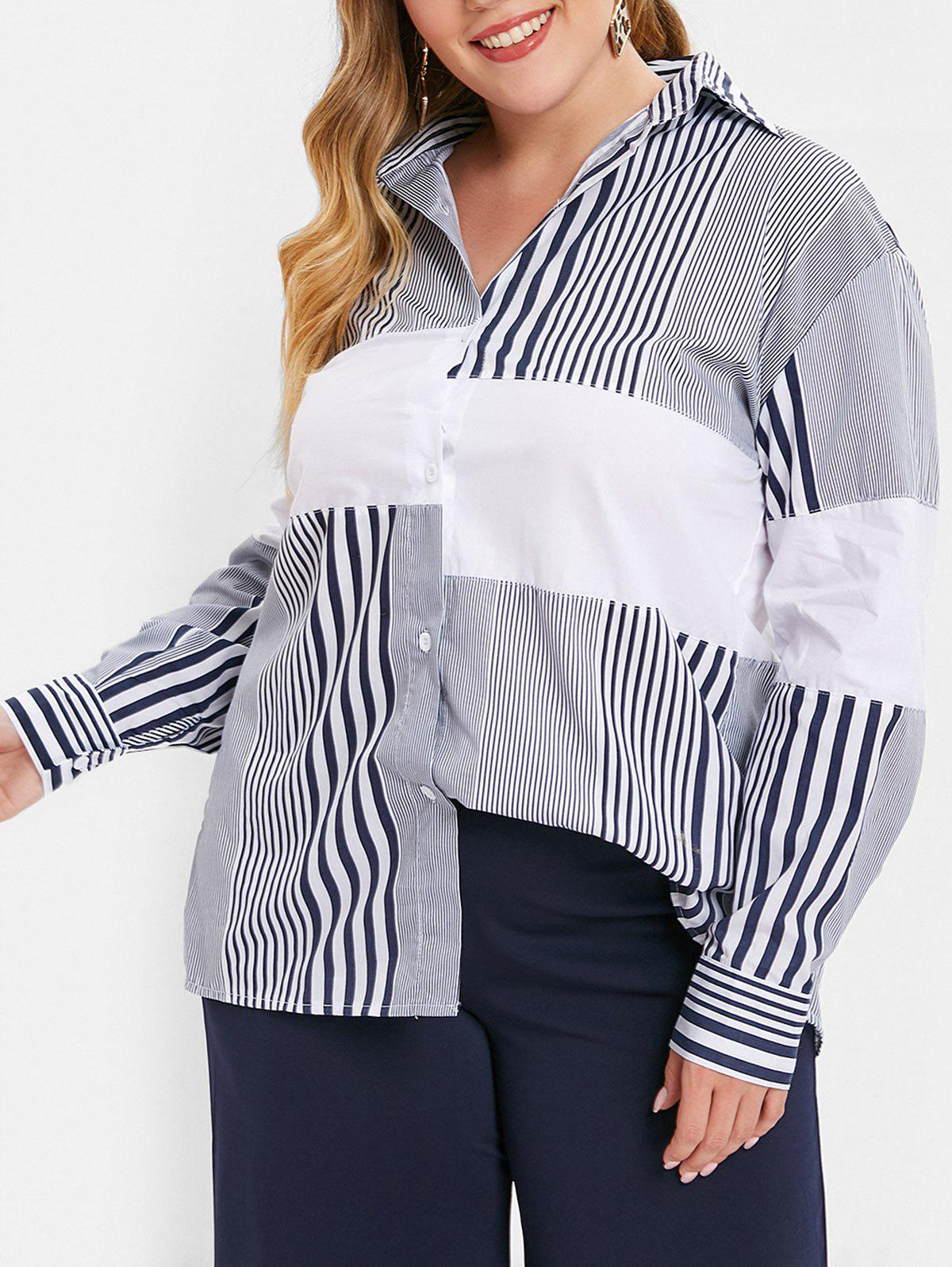Sale Plus Size Slit High Low Long Striped Shirt