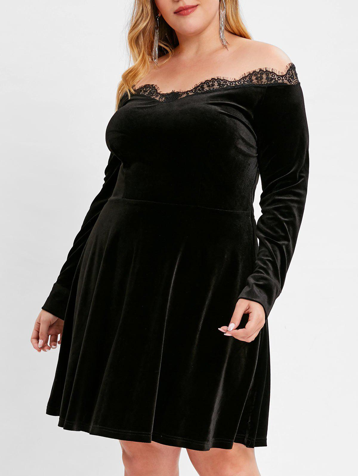 Latest Plus Size Off Shoulder Velvet Dress with Lace