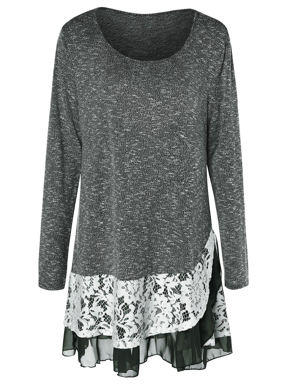 Affordable Plus Size Lace Insert Layered Tunic Knitwear