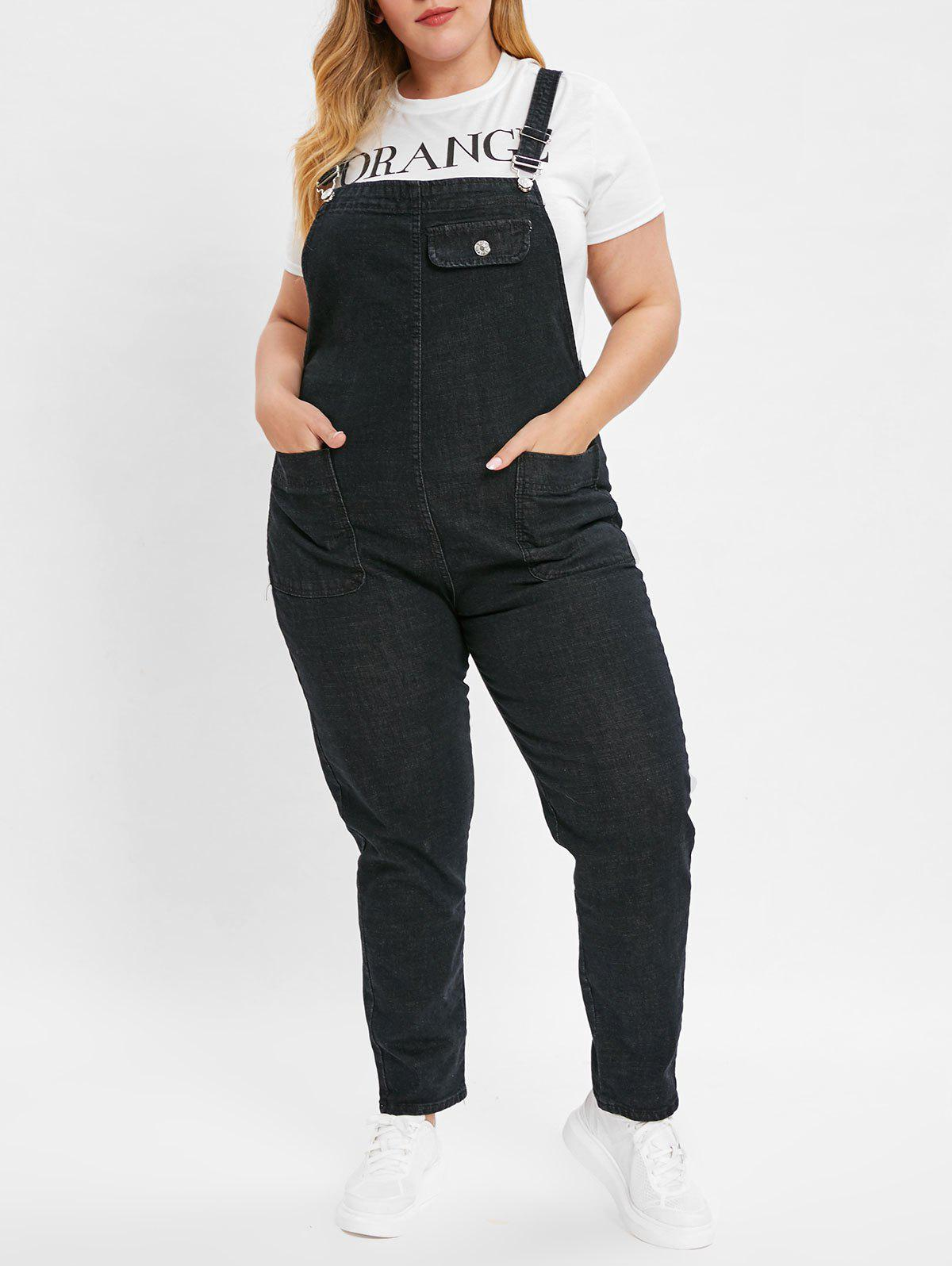 Cheap Plus Size Jean Overalls with Pocket
