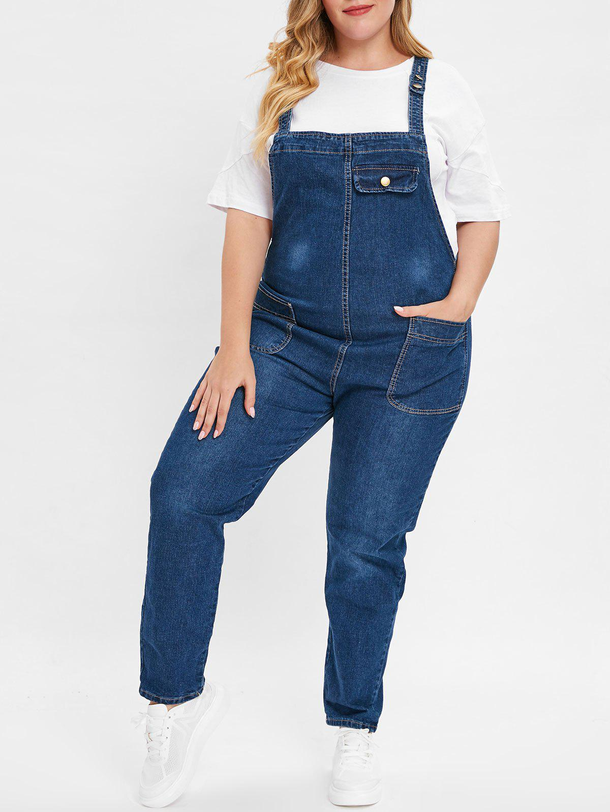 Fashion Plus Size Jean Overalls with Pocket