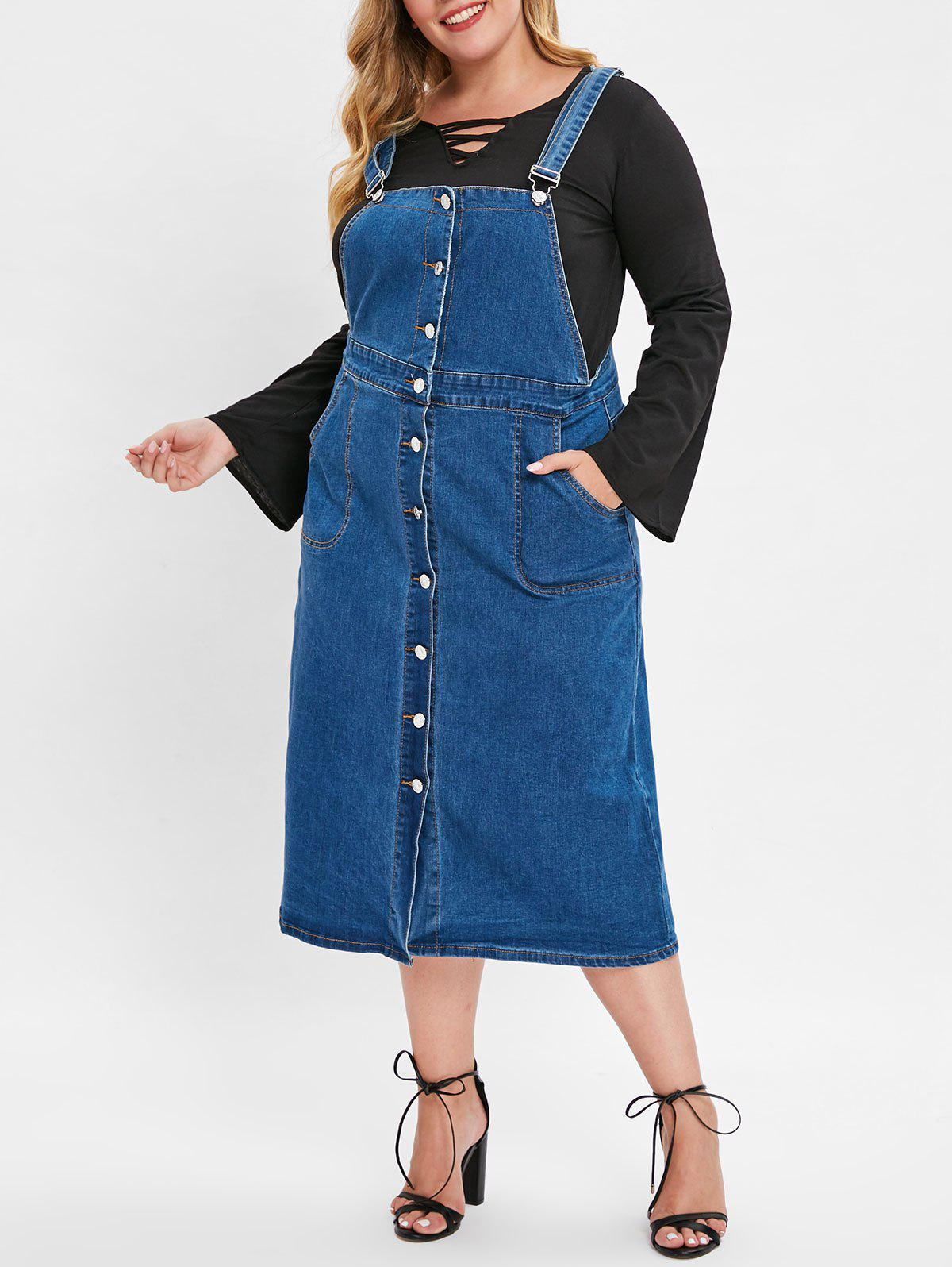 b37db6bf9bb 2019 Plus Size Jean Overall Dress