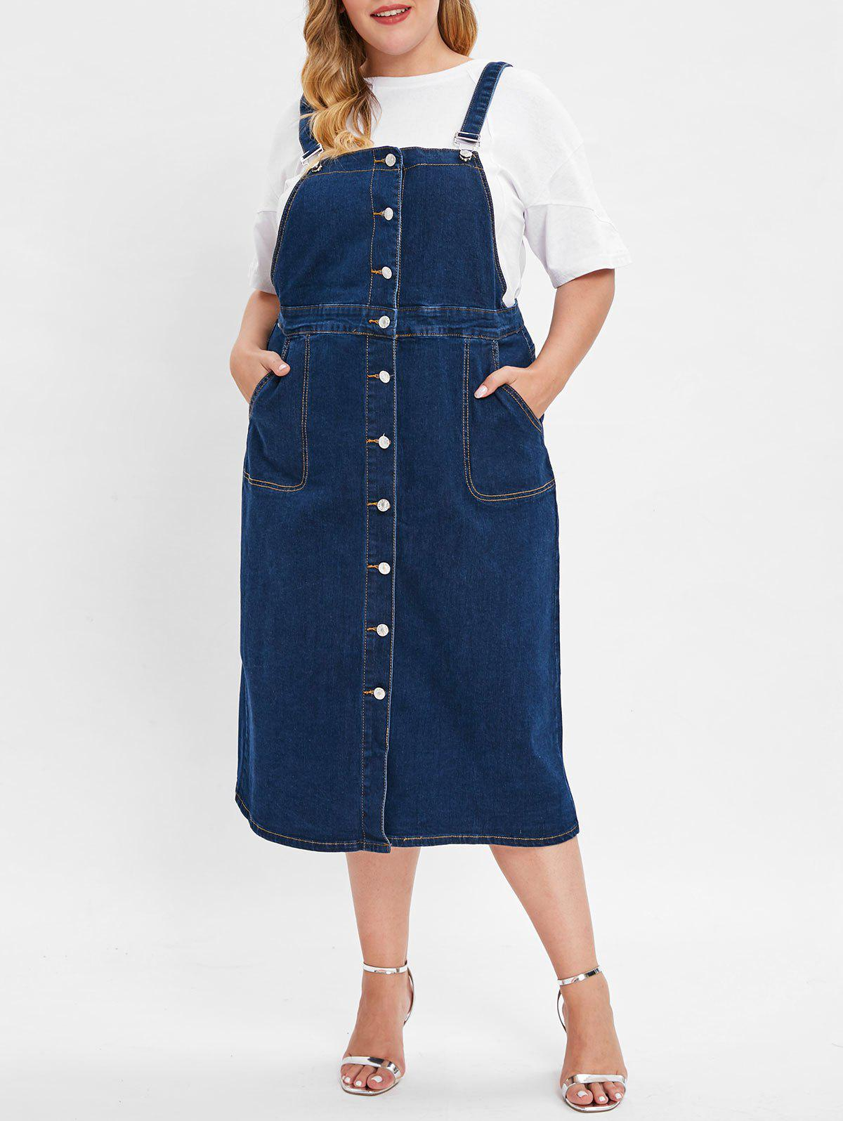 46% OFF] Plus Size Jean Overall Dress | Rosegal