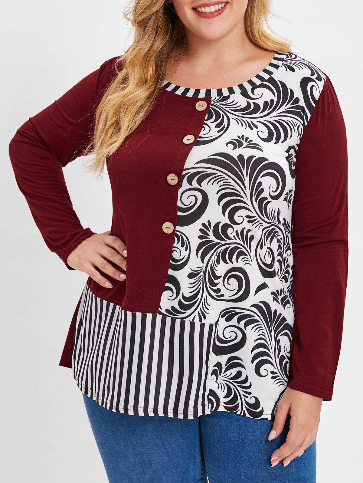 b8199038 2019 Plus Size Bandana Floral Striped T-shirt | Rosegal.com