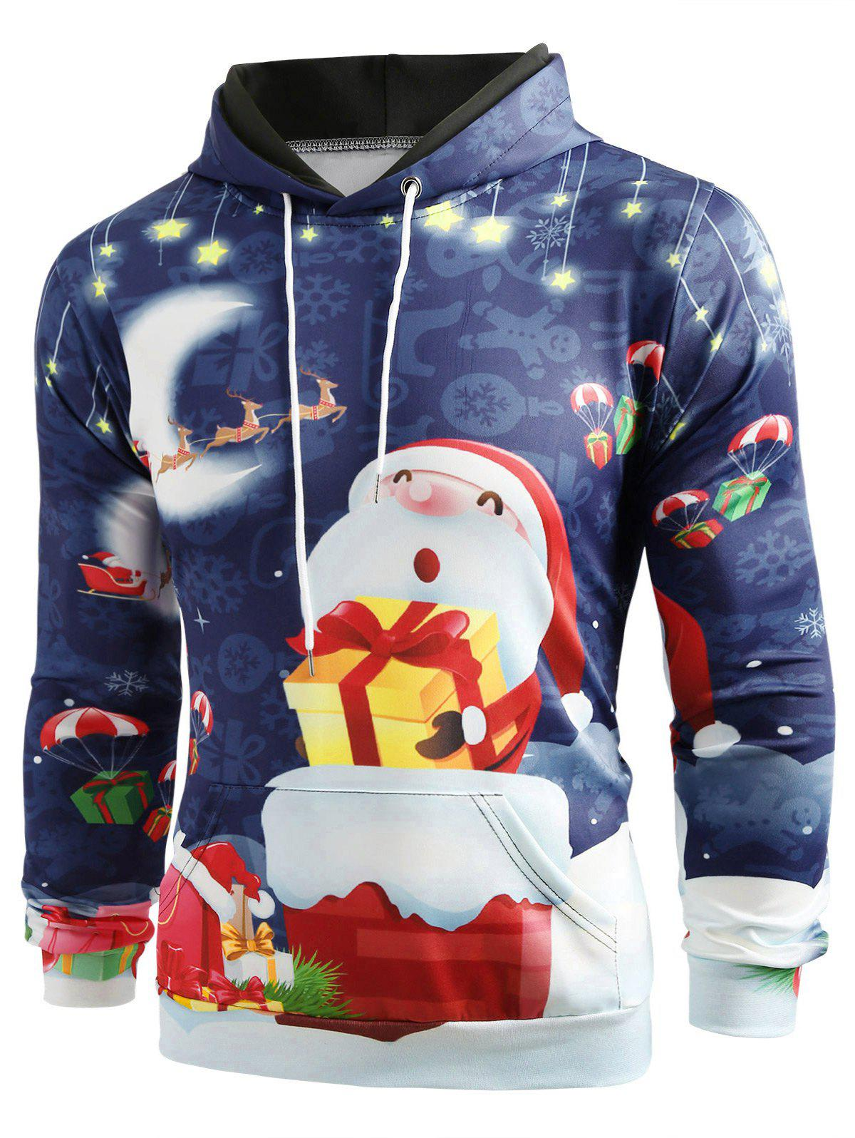 Affordable Night Santa Claus Gift Print Pullover Hoodie