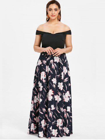Off The Shoulder Plus Size Floral Print Maxi Dress