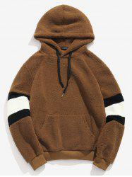 ZAFUL Contrast Stripe Pouch Pocket Pullover Fluffy Hoodie -