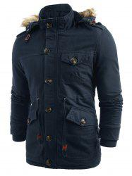 Solid Color Fluffy Hooded Padded Coat -