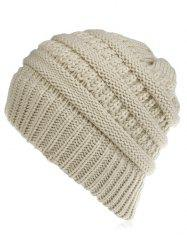 Solid Color Thick Knitted Baggy Beanie -