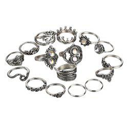 Faux Crystal Inlaid Leaf Hollow Rings Set -