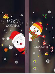 Merry Christmas Snowman Removable Wall Sticker -