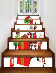 Father Christmas Deer Gift Printed Removable Stair Stickers -