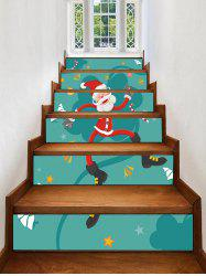 Father Christmas Star Printed Removable Stair Stickers -