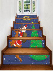 Father Christmas Tree Deer Printed Removable Stair Stickers -