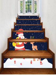 Father Christmas Deer Removable Stair Stickers -