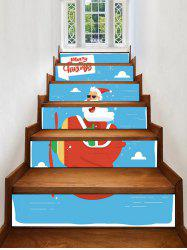 Father Christmas Plane Printed Removable Stair Stickers -