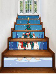 Christmas Tree Snowman Printed Removable Stair Stickers -