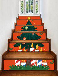 Christmas Tree Star Printed Removable Stair Stickers -