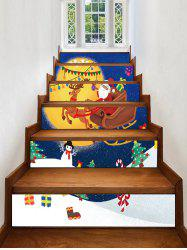 Gift Father Christmas Tree Deer Printed Removable Stair Stickers -