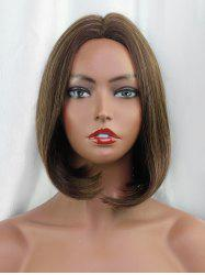 Middle Part Short Straight Bob Colormix Human Hair Wig -