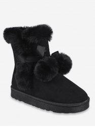 Lacing Ball Faux Fur Suede Snow Boots -