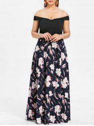 Off The Shoulder Plus Size Floral Print Maxi Dress -