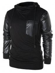 PU Leather Panel Pullover Hoodie -