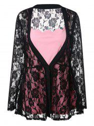 Plus Size Sheer Lace Kimono and Cami Top -