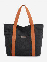 Large Capacity Color Block Canvas Shoulder Bag -