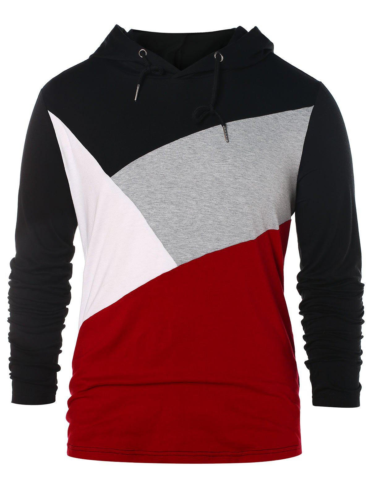 Fashion Casual Panel Pullover Hoodie