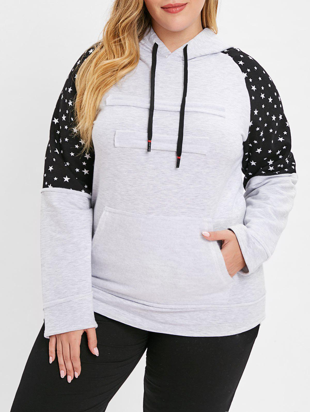 Affordable Plus Size Star Raglan Sleeve Hoodie