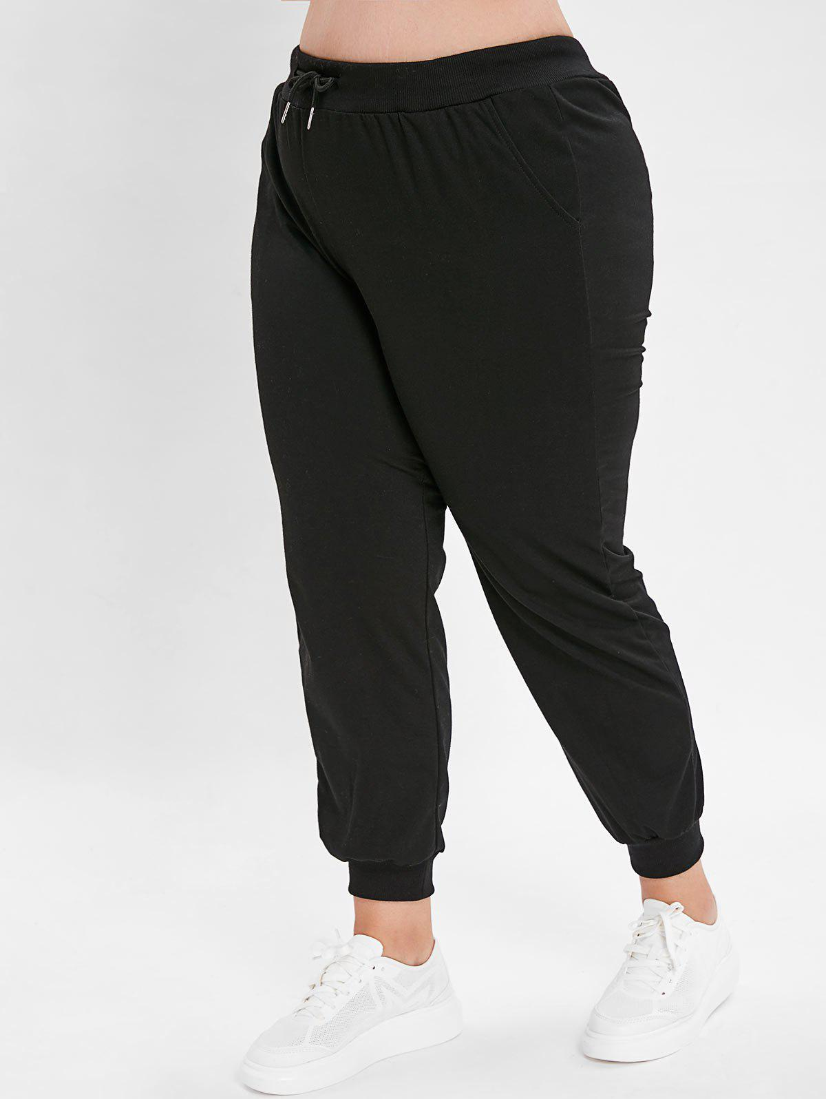 Sale Plus Size Solid Color Jogger Pants