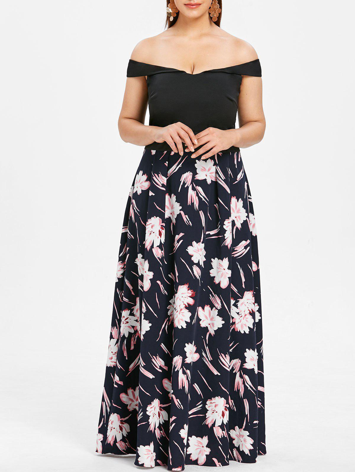 cde117f02cb5e 2019 OFF The Shoulder Plus Size Floral Print Maxi Dress | Rosegal.com