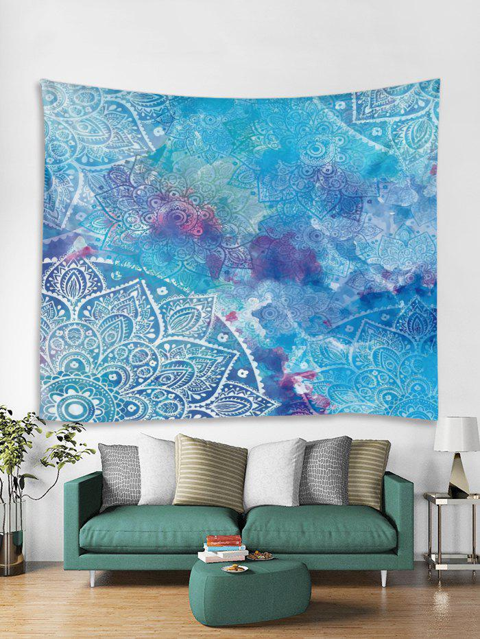 Mandala Print Tapestry Wall Hanging Decor, Day sky blue