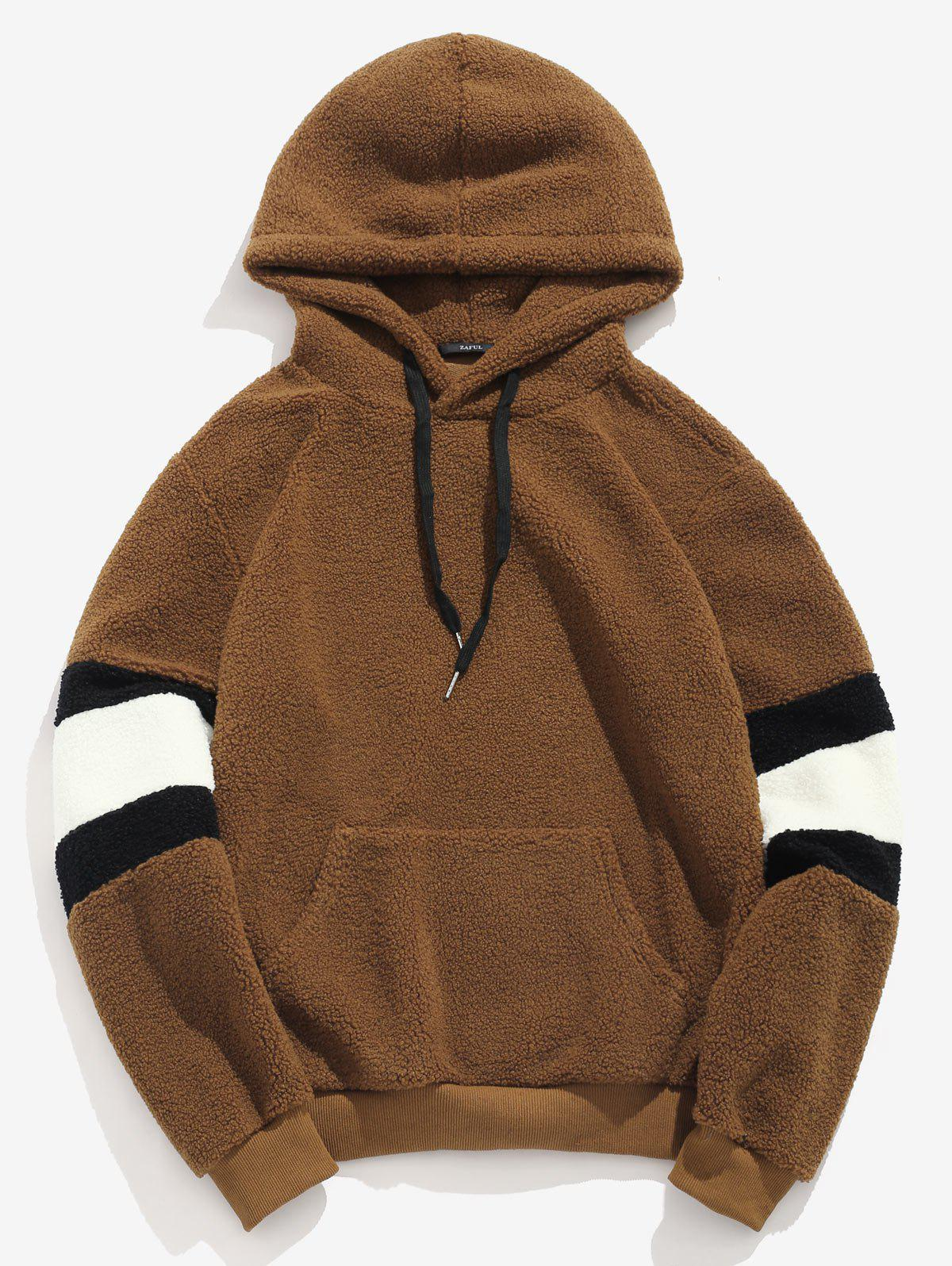 Discount ZAFUL Contrast Stripe Pouch Pocket Pullover Fluffy Hoodie