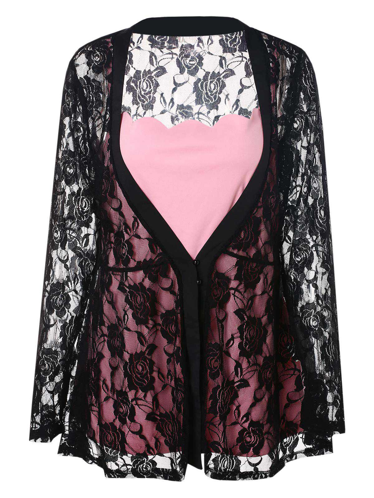 Trendy Plus Size Sheer Lace Kimono and Cami Top