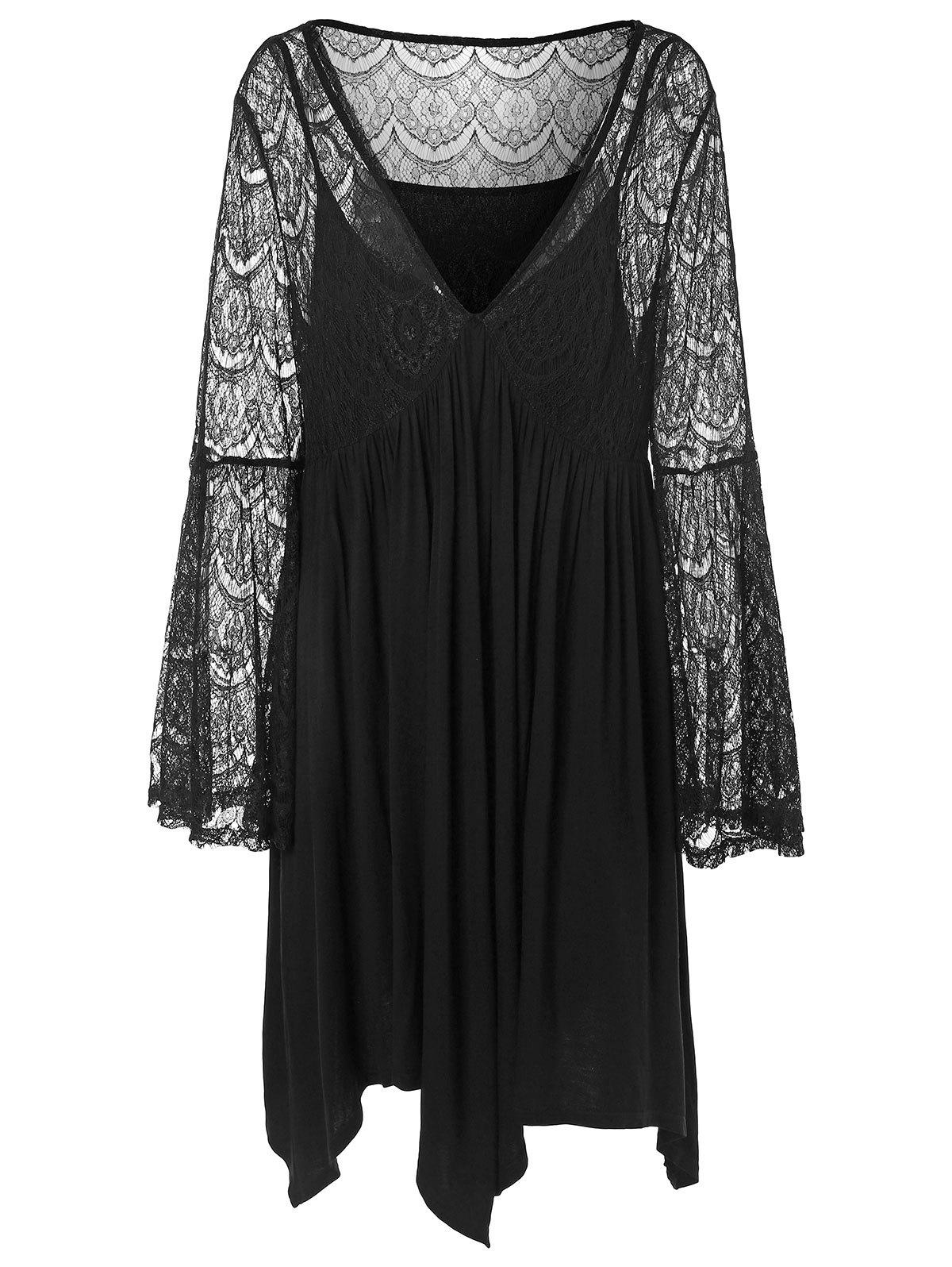 3f2c917d1d8 31% OFF   2019 Plus Size Plunge Flare Sleeve Lace Panel Dress ...