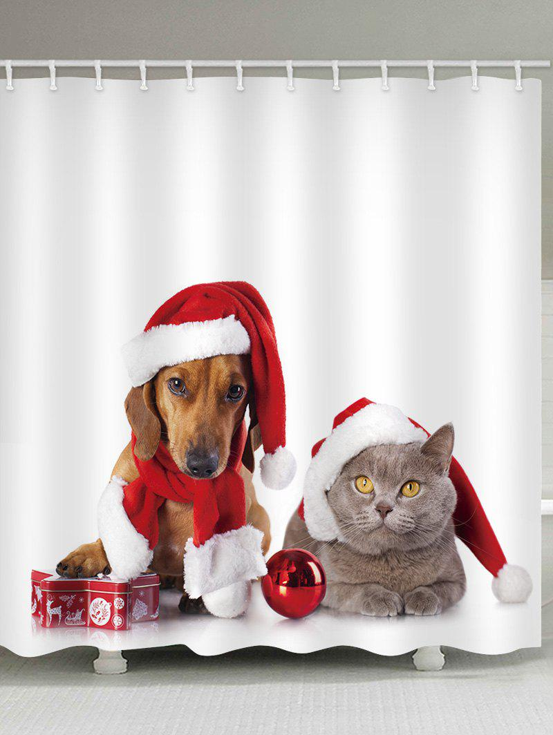 Discount Christmas Cat and Dog Print Waterproof Bathroom Shower Curtain