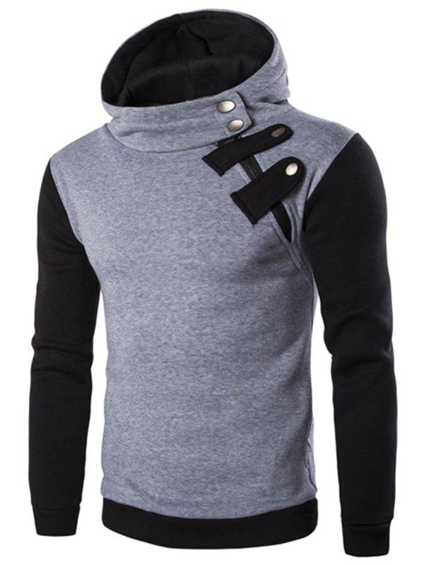 Hot Inclined Zipper Color Block Hooded Long Sleeves Hoodie For Men