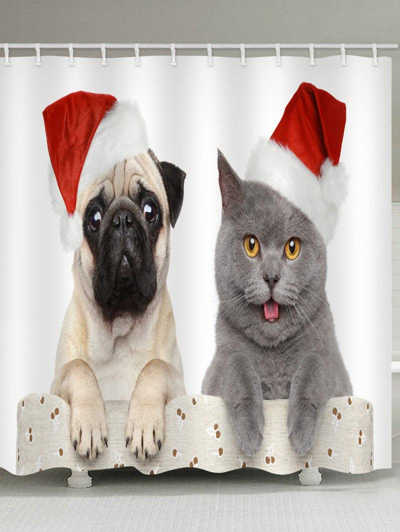 Discount Christmas Cat And Dog Print Waterproof Shower Curtain