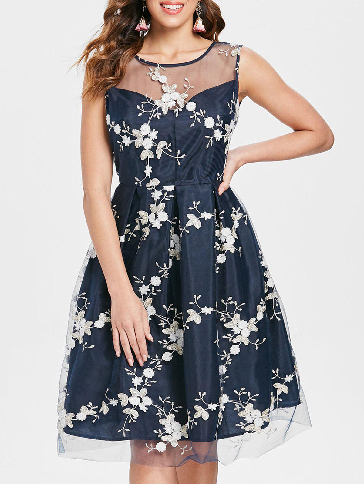 Affordable Sleeveless Floral Lace Overlay Dress