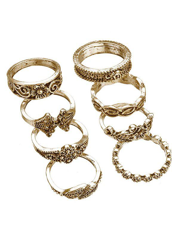 Trendy Artificial Crystal Floral Design Rings Set