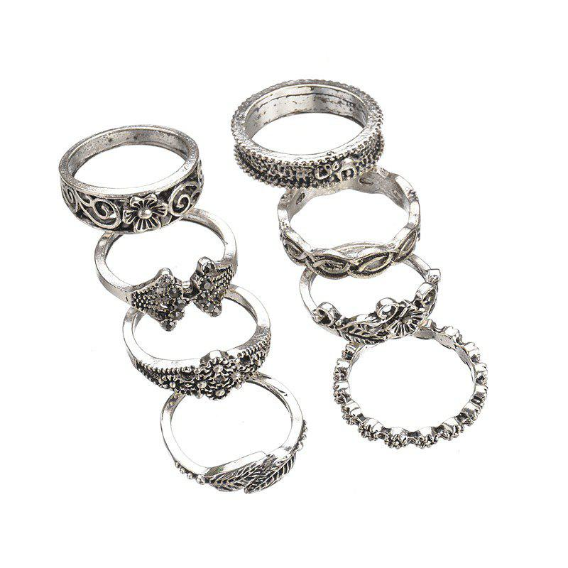 Discount Artificial Crystal Floral Design Rings Set