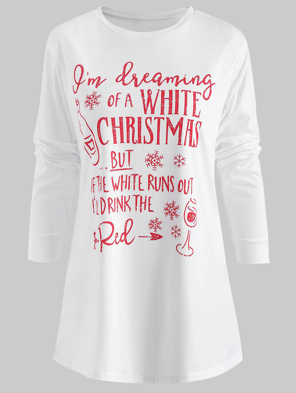 0971f2d9 57% OFF] Long Sleeve Christmas Graphic Print T-shirt | Rosegal