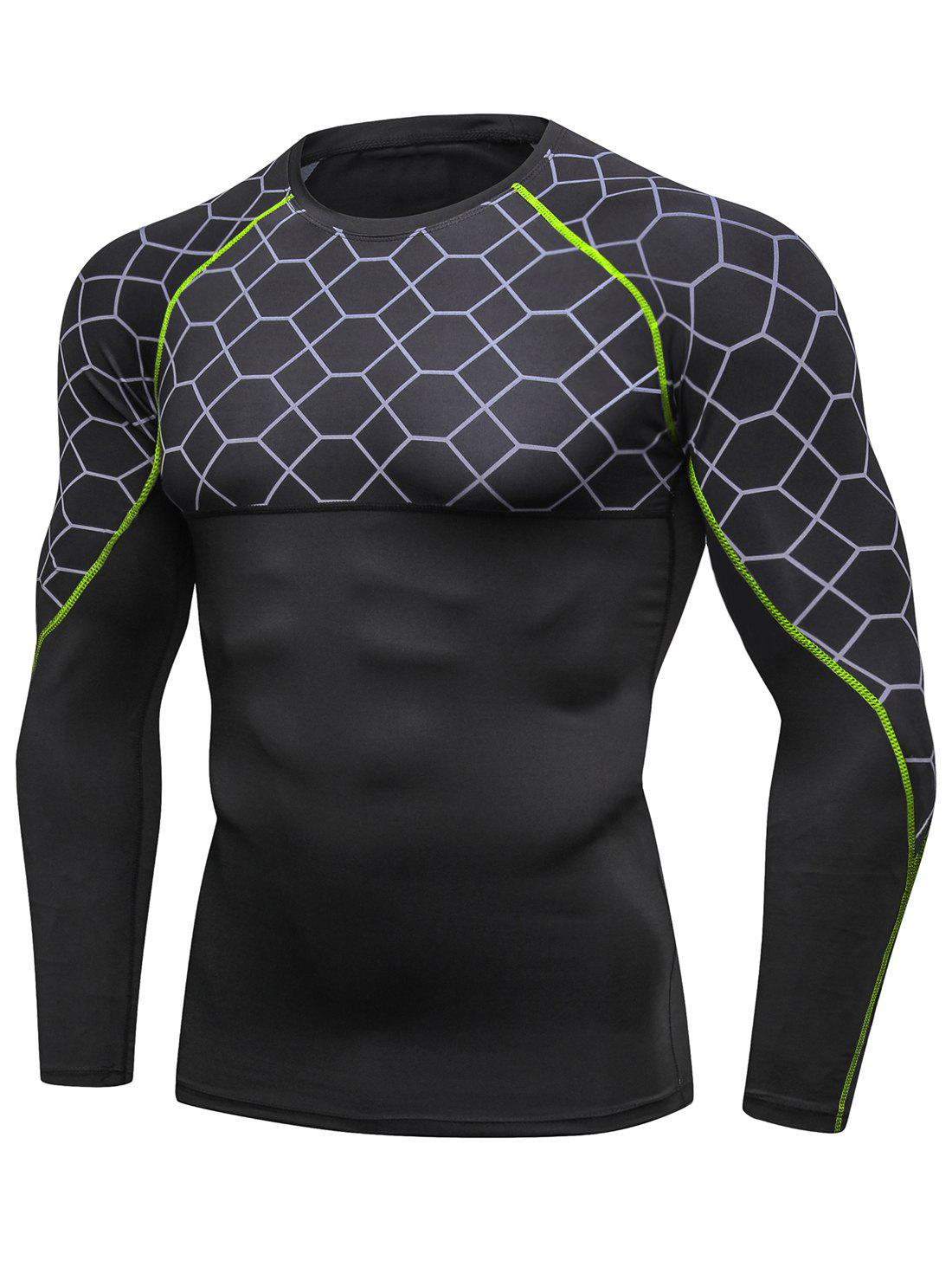 Latest Grid Pattern Long Sleeves High-elastic Sport Jersey