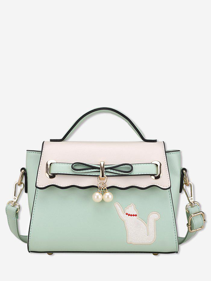 Outfits Cat and Artificial Pearl Design Tote Bag