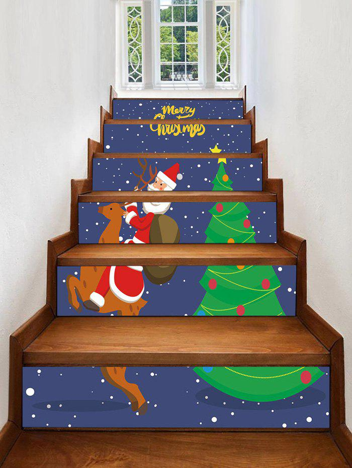 Unique Father Christmas Tree Deer Printed Removable Stair Stickers