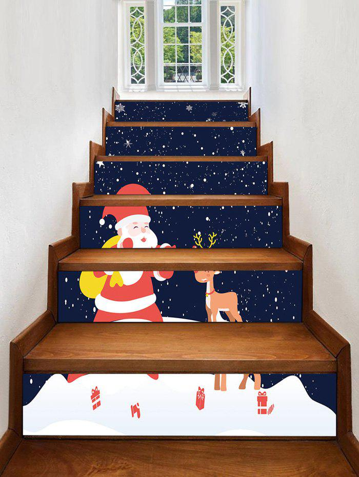 Hot Father Christmas Deer Removable Stair Stickers