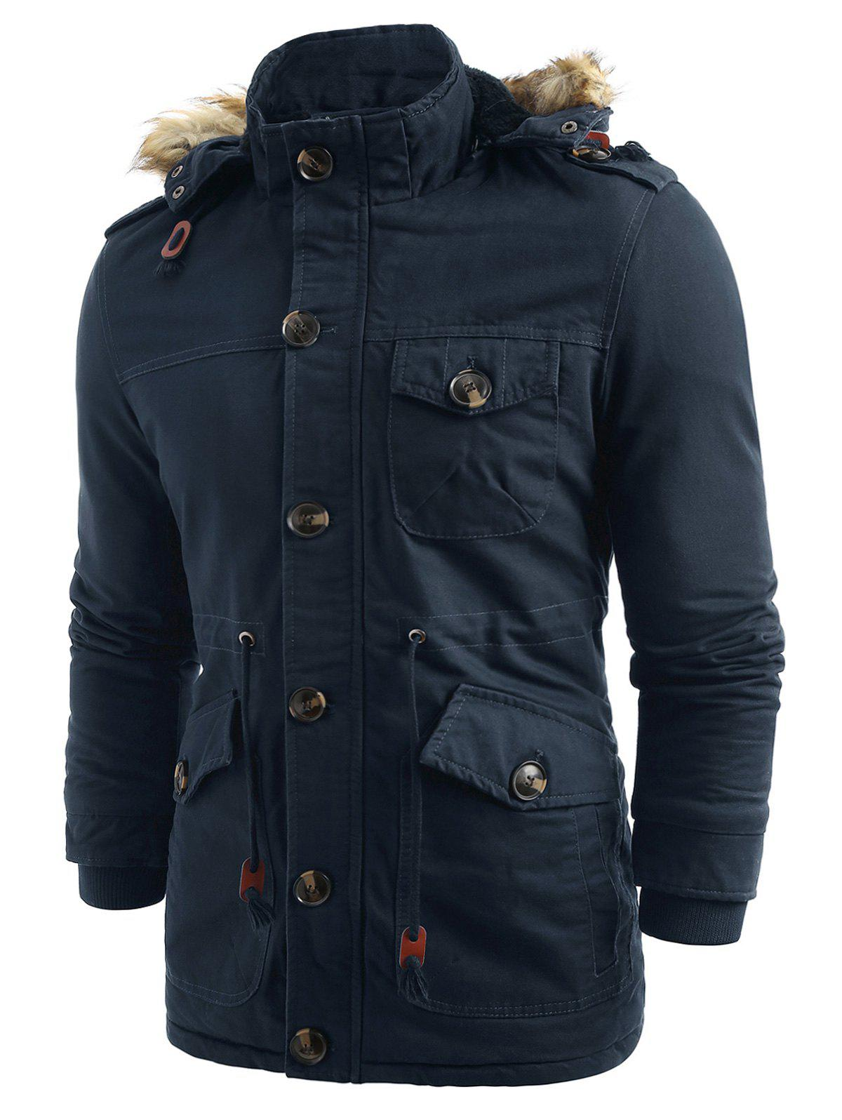 Cheap Solid Color Fluffy Hooded Padded Coat
